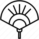 asian hand fan, chinese fan, hand held fan, paper fan, refreshing hand fan icon