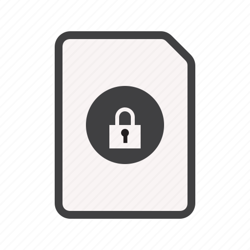 document, line, lock, paper, security icon