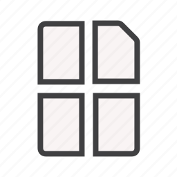 a4, cut, document, documents, line, paper icon