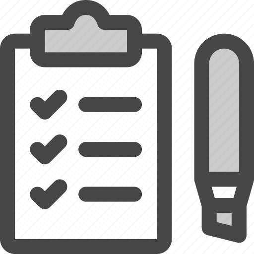 checklist, clipboard, highlighter, marker, tasks, todo icon