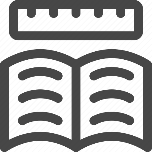 book, education, measure, notes, pages, ruler, study icon