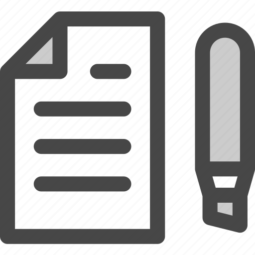 document, file, highlighter, marker, office, page, paper icon