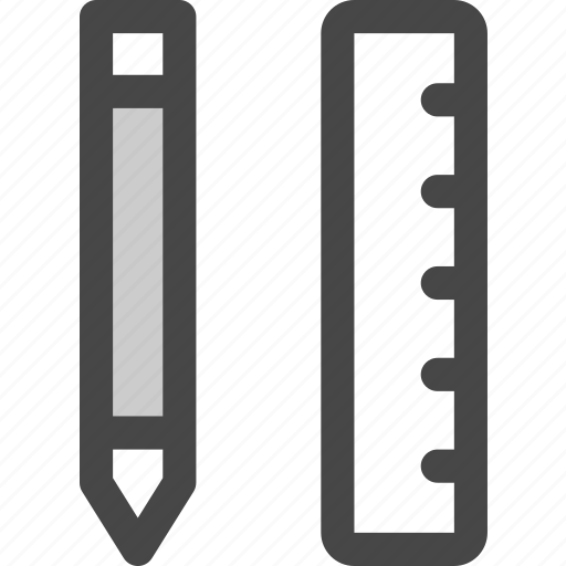draw, measure, office, pencil, ruler, tools, writing icon