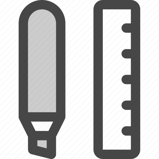 highlighter, marker, measure, office, ruler, tools, write icon