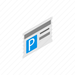 blog, car, card, isometric, park, parking, ticket icon