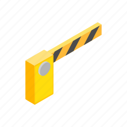barrier, cars, isometric, parking, road, security, stop icon