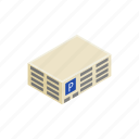 area, building, isometric, park, parking, transportation, vehicle icon