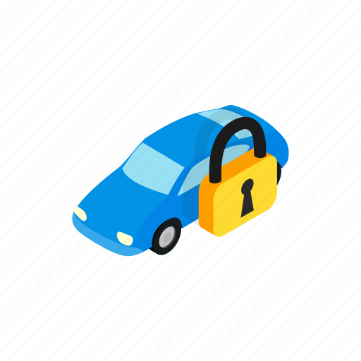 arrest, car, impound, isometric, transportation, truck, under icon