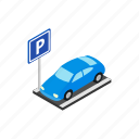 blog, isometric, park, parking, street, transportation, vehicle icon