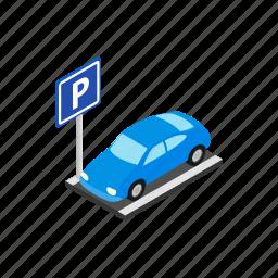 blog, isometric, park, parking, street, transportation, vehicle icon