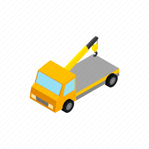 help, isometric, service, tow, traffic, transportation, truck icon