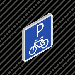 bicycle, bike, isometric, parking, road, traffic, transport icon