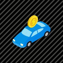 fine, impound, isometric, parking, service, transportation, truck icon