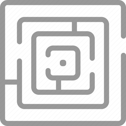 challenge, labyrinth, lost, maze, solution, strategy icon