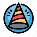 birthday, decoration, hat, party icon
