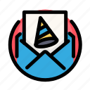 birthday, decoration, email, mail, party icon