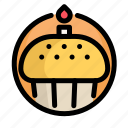birthday, cake, candle, decoration, party icon