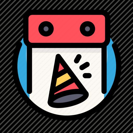 birthday, calendar, decoration, party icon