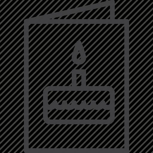 birthday, cake, card, greeting icon