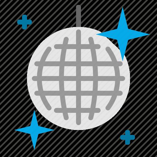 ball, disco, glitter, mirror, mirrorball, music, spherical icon