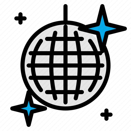 ball, disco, glitter, mirror, mirrorball, music, spherical icon