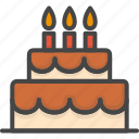 birthday, cake, colored, holidays, party icon