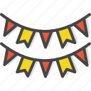 banner, birthday, colored, decoration, holidays, party icon