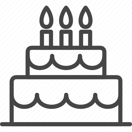Birthday, Cake, Holidays, Line, Outline, Party Icon