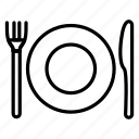 cutlery, fork, fork and spoon, party, plate, spoon icon
