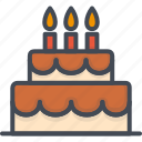birthday, cake, candle, celebration, party, vacation icon