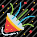 cone, confetti, paper, party, popper