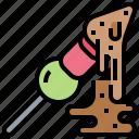 chocolate, dip, fondue, fruit, stick icon