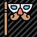 decoration, mask, masquerade, mustache, party