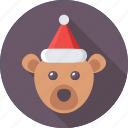 animal, bear, christmas, santa hat, toy icon