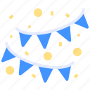 banner, birthday, celebration, decoration, event, flags, party icon