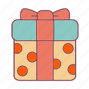 birthday, box, gift, gifts, party, polkadots, ribbon icon