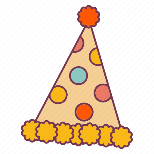 birthday, cap, decorations, hat, head, party, polkadots icon