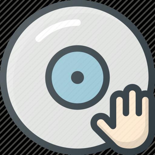 disc, dj, hand, jokey icon