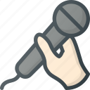 hand, hold, karaoke, microphone, party, sing icon