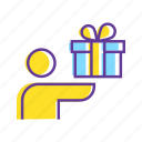 birthday gift, gift, gift box, give a gift, man with gift box, party, present icon