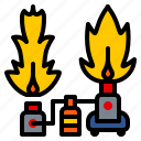 fire, flame, lighting, machine, party, stage icon