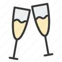 birthday, champagne, drinks, glass, party icon