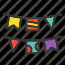 birthday, decoration, flag, garland, party icon