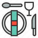 glass, knife, plate, spoon, utensil icon