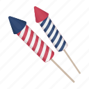 blue, firecrackers, fireworks, red, salute, striped, white icon