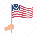 america, day, flag, hand, holiday, national, patriot icon