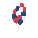balloon, blue, day, holiday, patriot, red, white icon