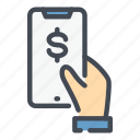 dollar, money, nfs, online, pay, payment, smartphone icon