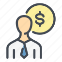 coin, dollar, finance, investment, investor, money, person icon