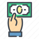 cash, dollar, donate, hand, money, pay, payment icon